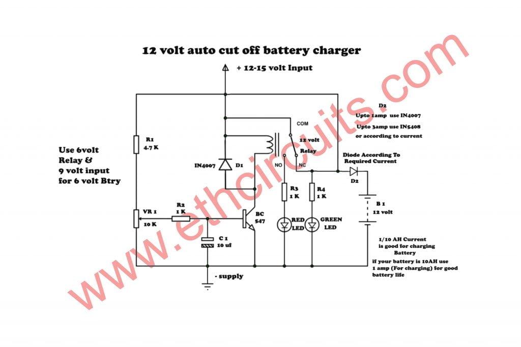 circuit diagram of 6v emergency light 12 volt 6 volt battery auto cut off charger electronics  6 volt battery auto cut off charger