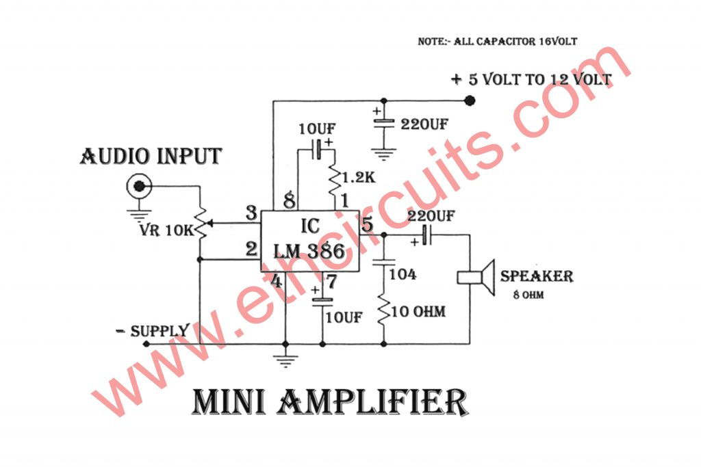 Amplifier circuit diagram with IC LM386 - Electronics ... on