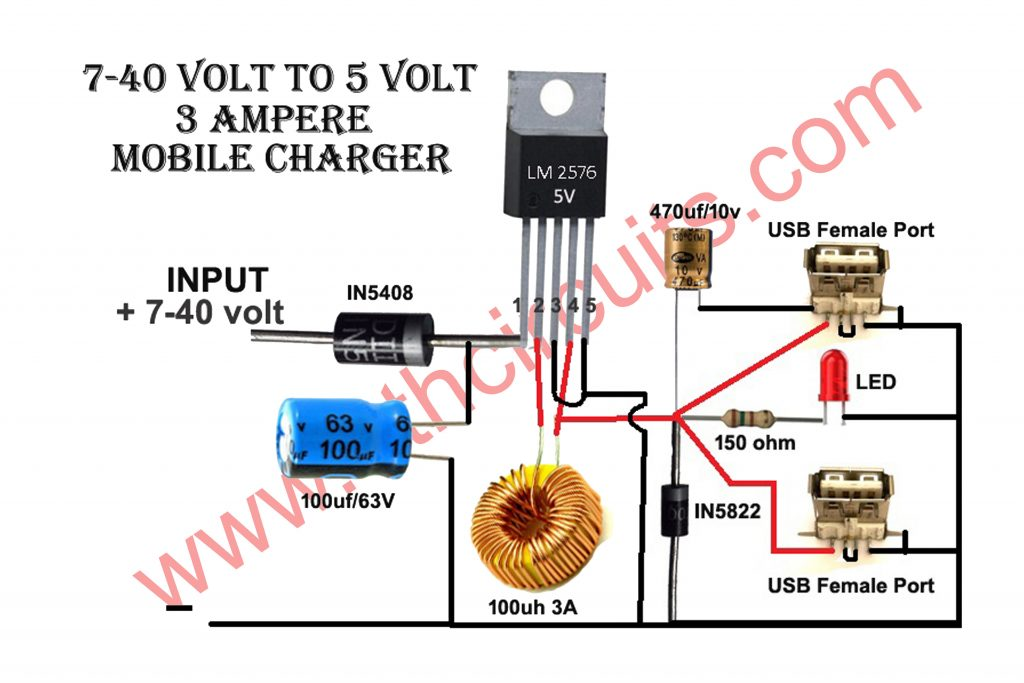 12V To Mobile Charger 3Amp