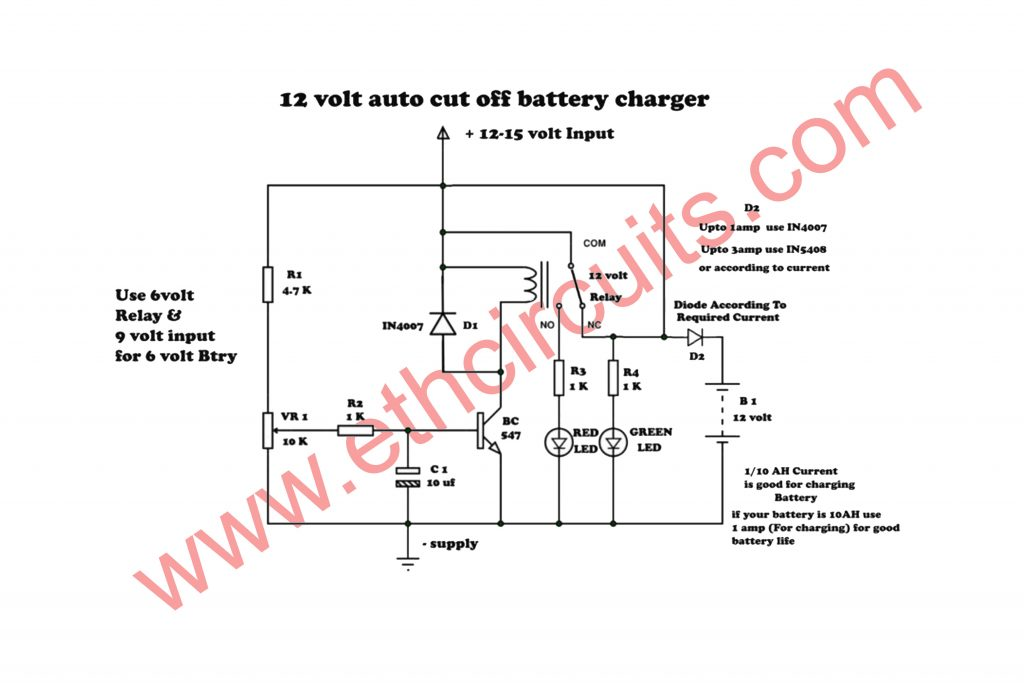 Automatic 12 Volt Battery Charger Easy Circuit Diagram