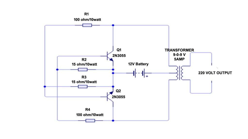Very Easy Inverter Circuit Diagram 12 V To 220 V