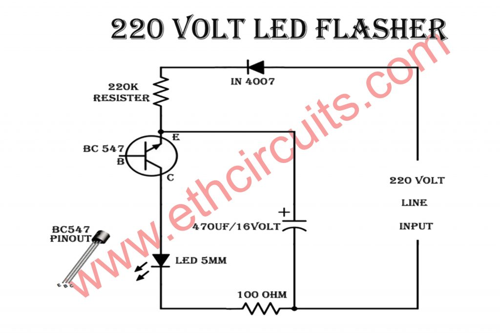 LED Flasher Circuit Direct on 220 Volt ac