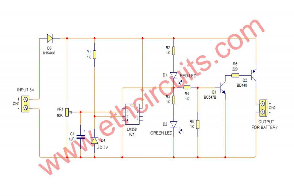 Simple Li-ion Battery Charger circuit diagram