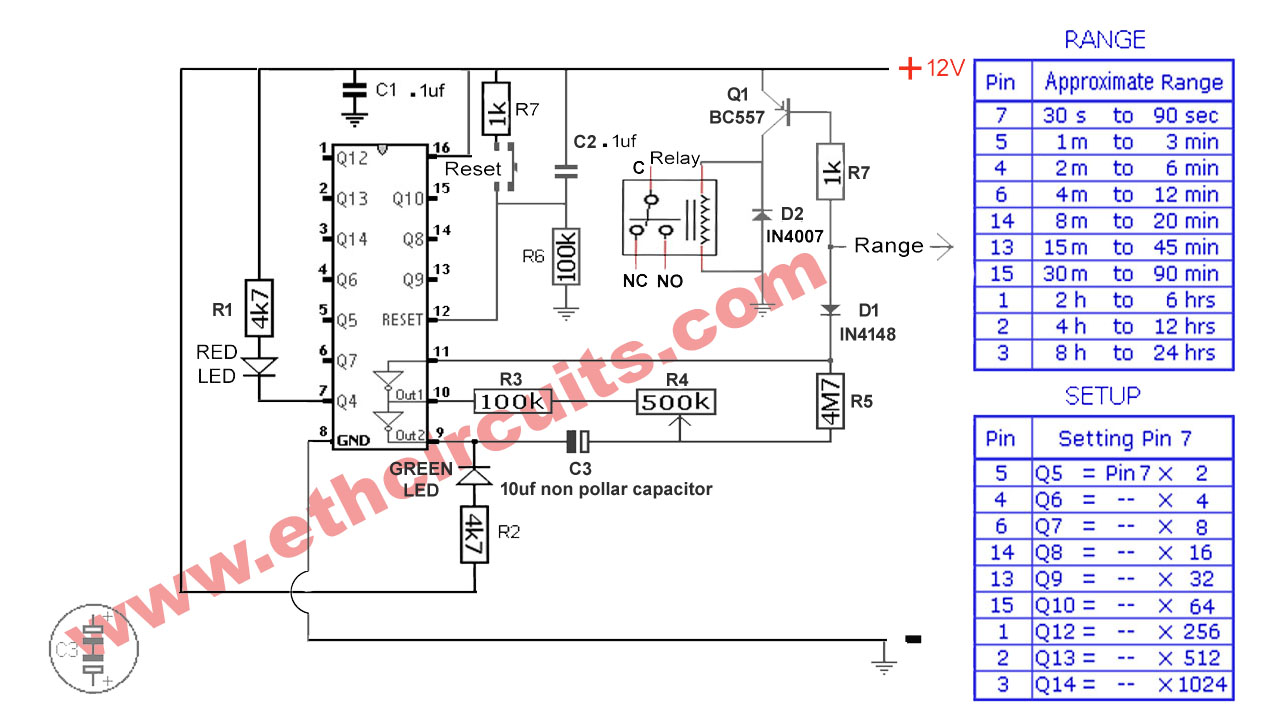 Best 24hr Timer Circuit Diagram With Ic 4060