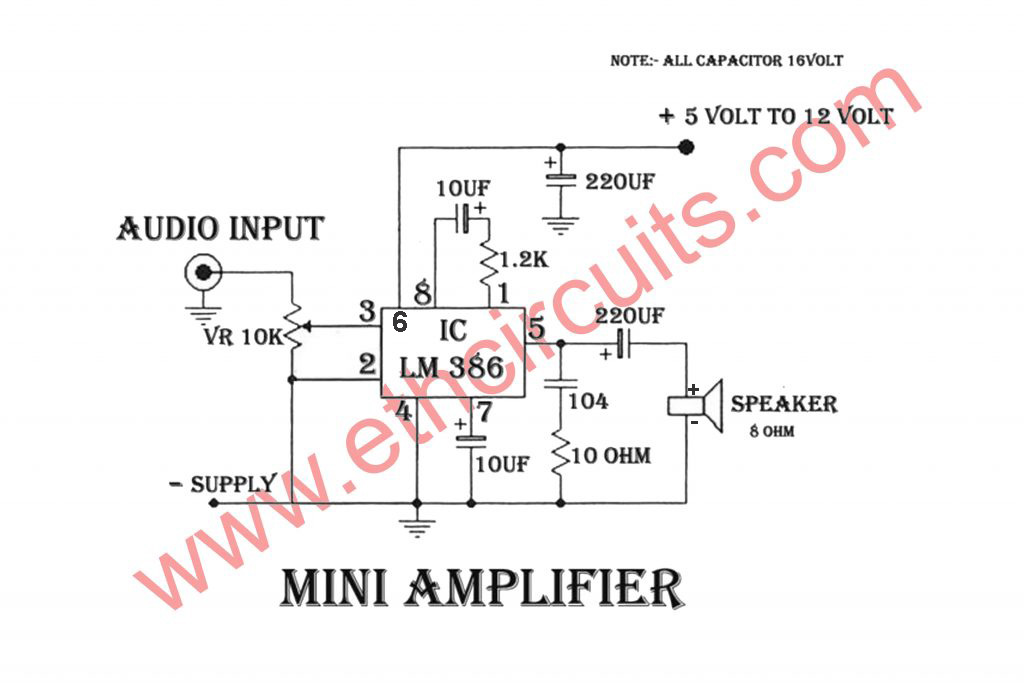 amplifier circuit diagram with lm386