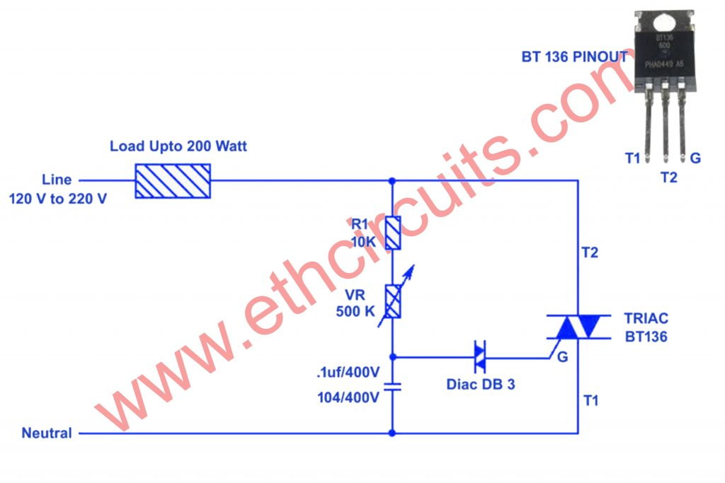 220 V AC Light Dimmer Circuit Diagram