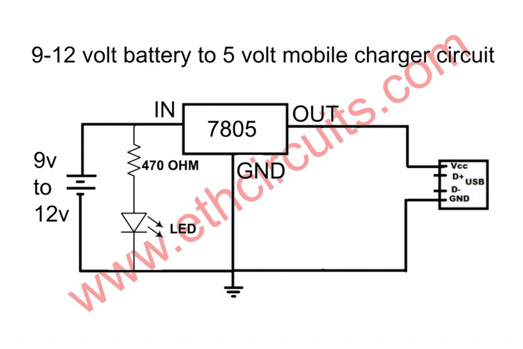 9v battery to mobile charger circuit diagram