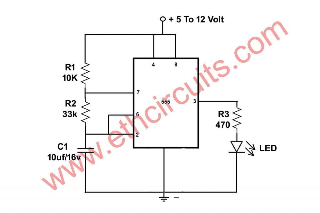 Blinking Led Circuit Daigram With Ic 555