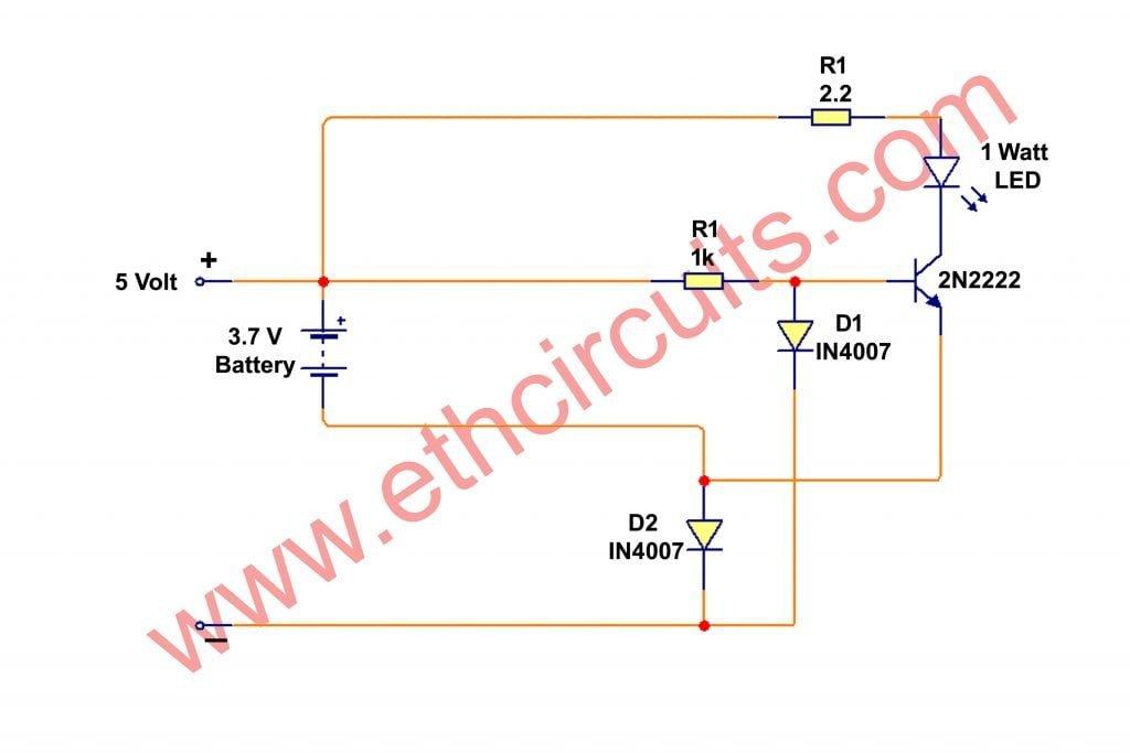 automatic emergency led light circuit diagram