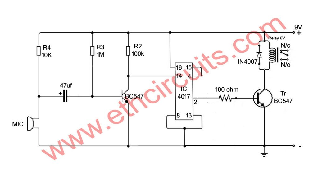 clap switch circuit diagram with relay