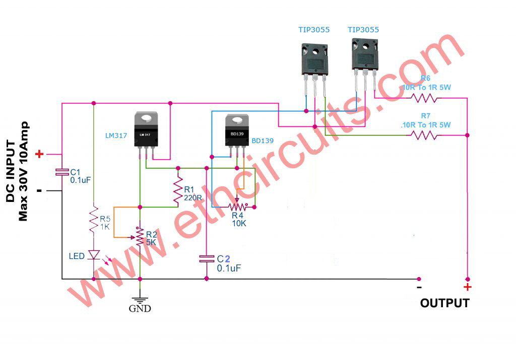 0-30V 0-10A Regulated Variable / Adjustable Power Supply Circuit​