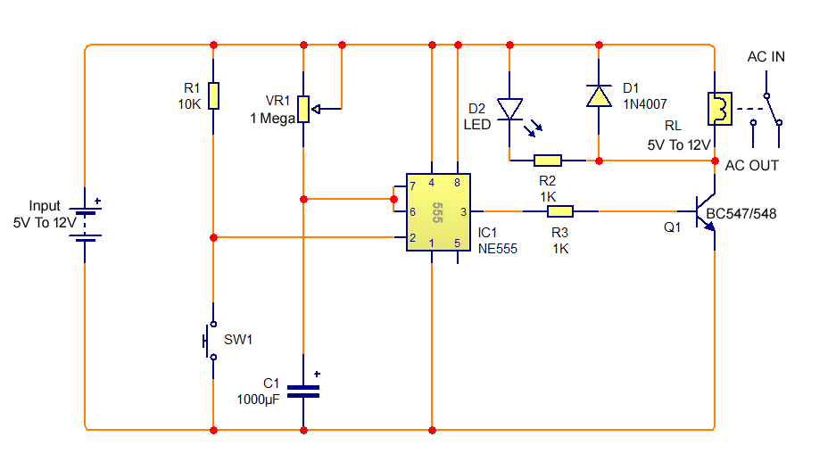 Simple On Delay Timer Circuit Diagram With Ic555