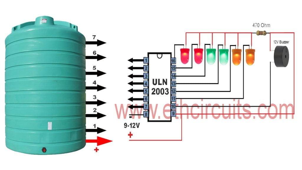 simple water level indicator with alram circuit diagram