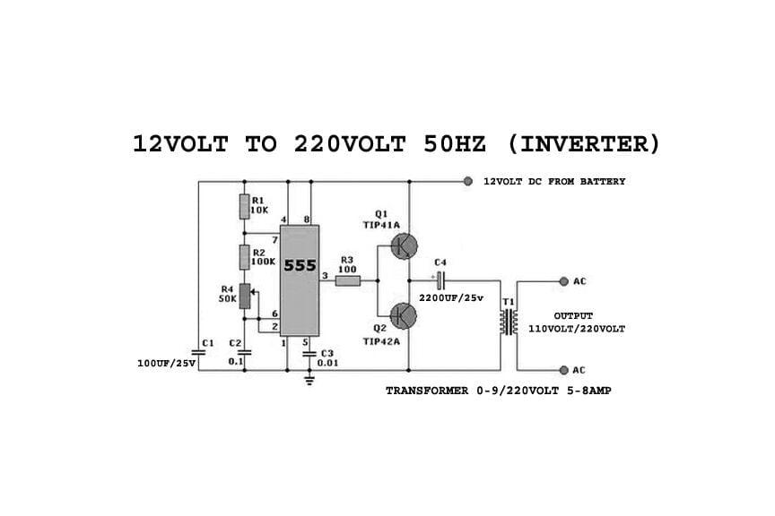 12 v to 220 v inverter circuit diagram 50 hz