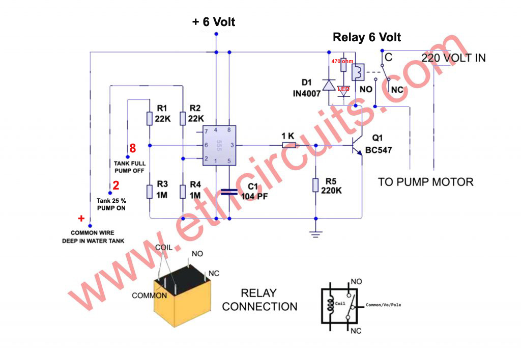 automatic water pump controller circuit diagram with water level indicator