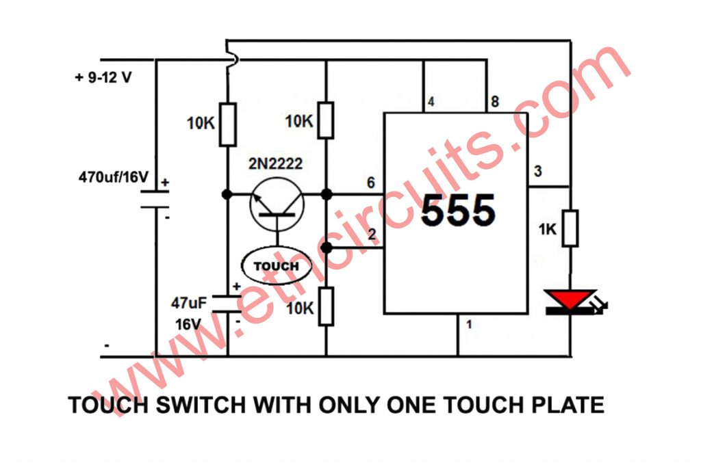 touch switch circuit diagram using 555 timer
