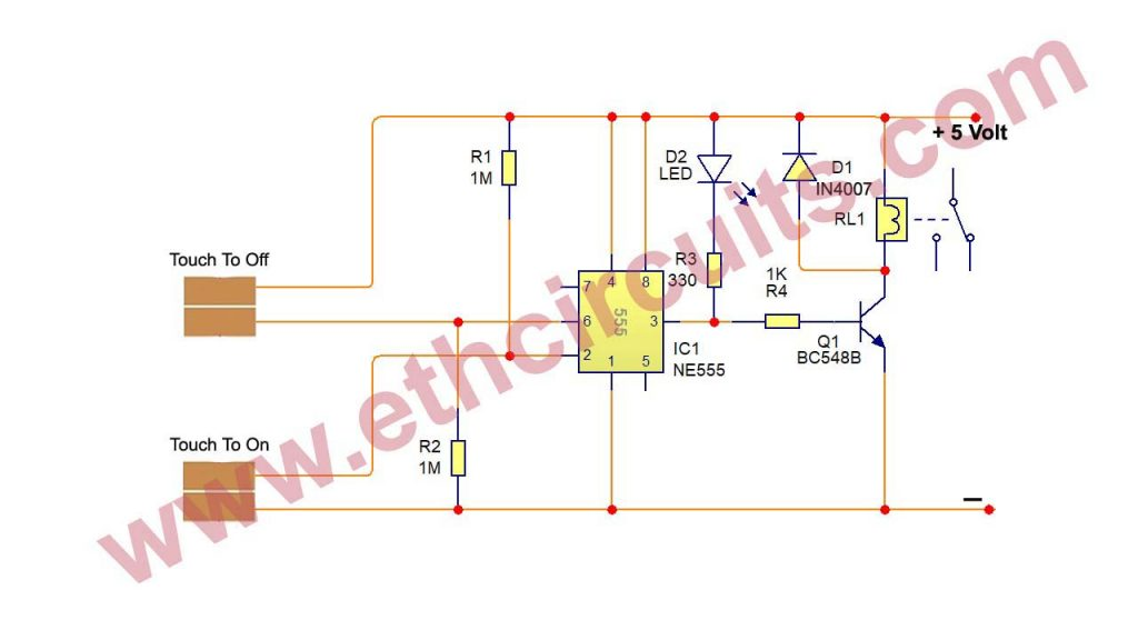 Touch Switch Circuit With IC 555 (2)