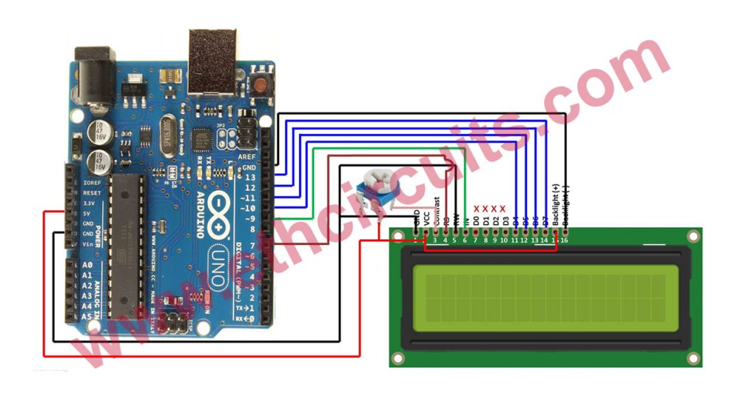 arduino 16×2 LCD connection Diagram