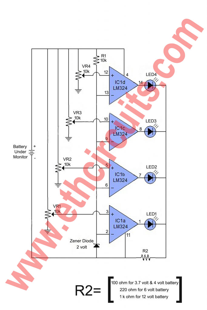 Battery Level Indicator Diagram With IC LM324