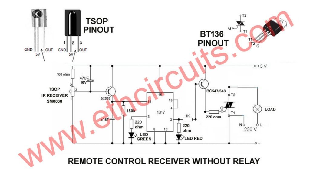 how to make remote control transmitter and receiver circuit diagram without relay