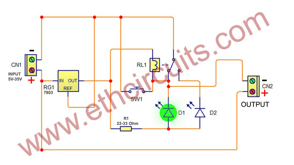 Short circuit protection circuit diagram with relay