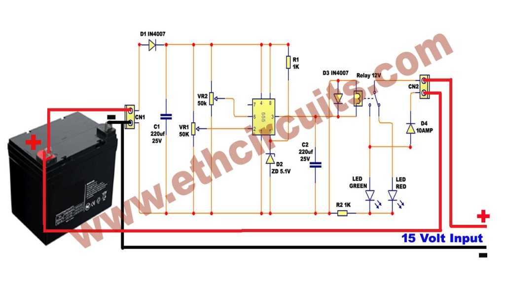 Automatic 12v Portable Car Battery Charger Circuit Diagram