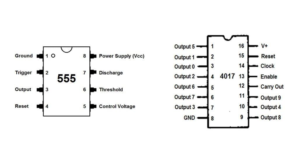 IC 4017 Pinout , IC555 Pinout