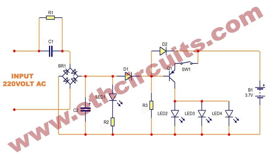 Emergency LED bulb circuit diagram