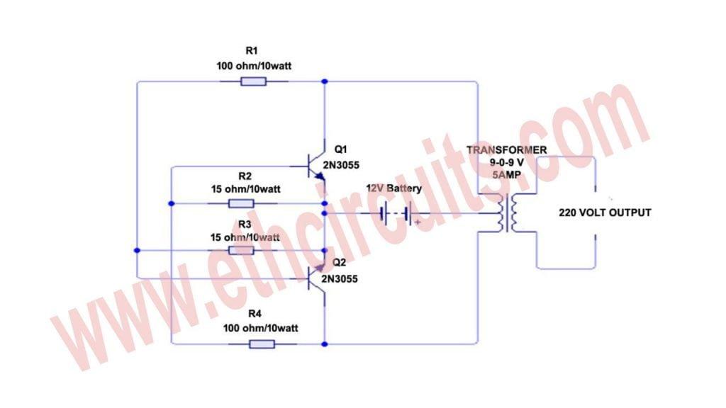 12 volt to 220 volt inverter circuit diagram
