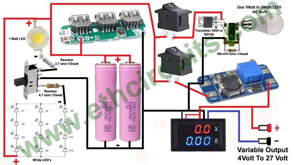 5 in 1 gadget, Inverter 220v, Emergency Light, Power bank, Torch, Variable Power supply
