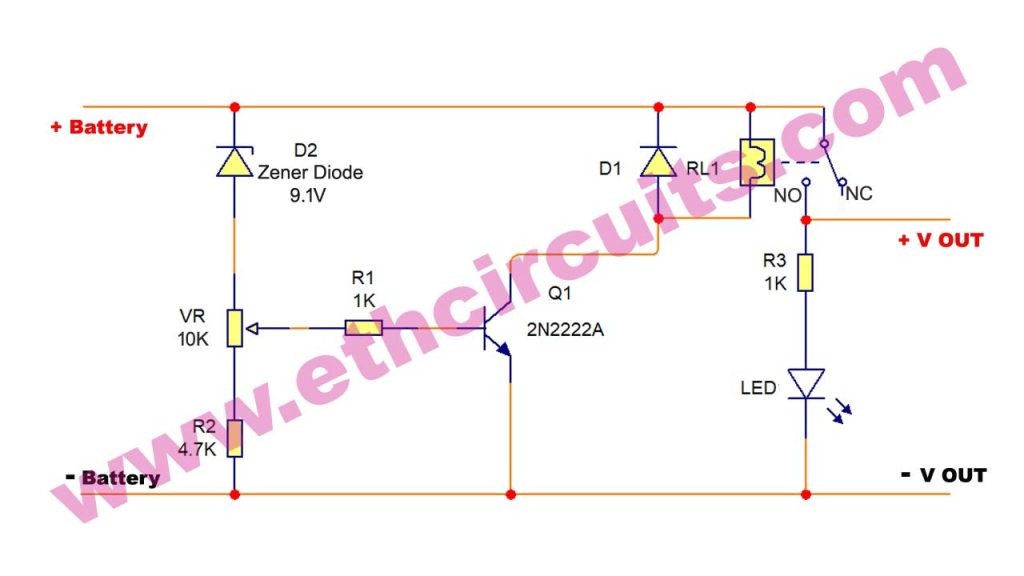 under voltage battery protection circuit diagram