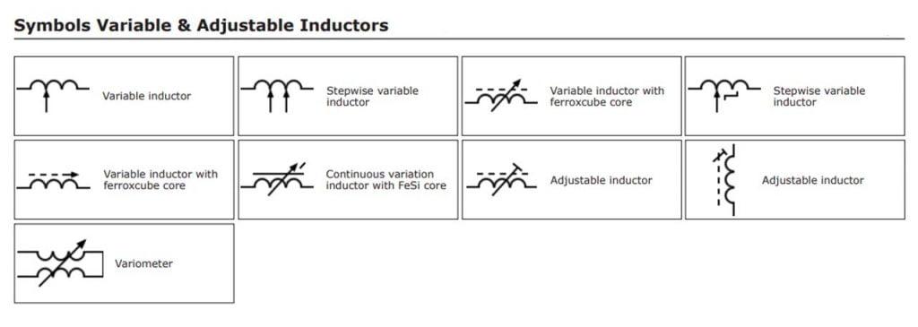 variable & adjustable inductor symbol