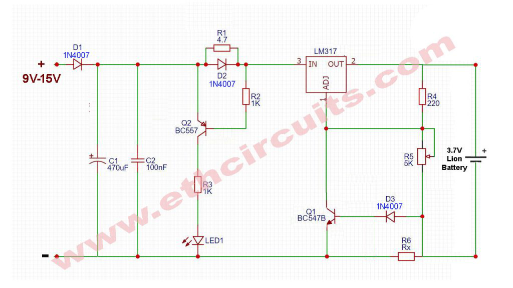 3.7V-Lion-Battery-Charger-Circuit-With-LM317