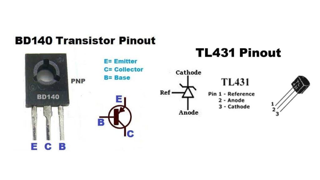 Transistor BD140 Pinout TL431 Pinout