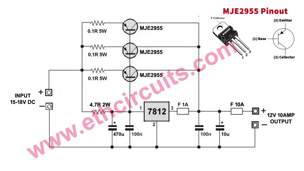 High Ampere Current Booster circuit with voltage regulator 7812 or 7805