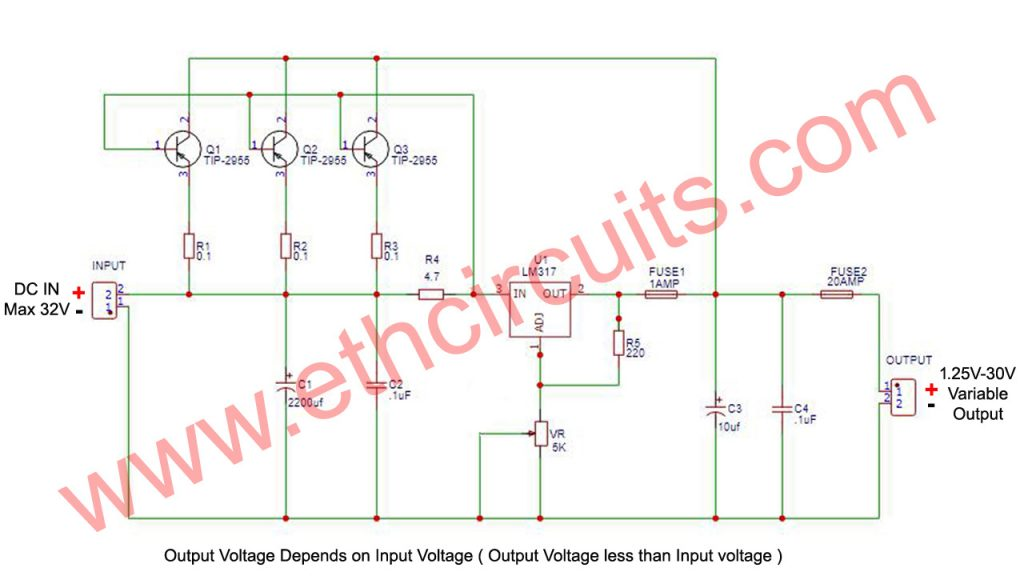 high ampere adjustable power supply circuit with lm317