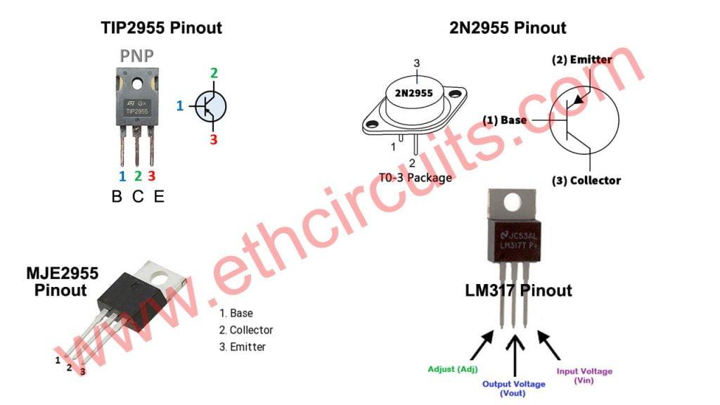 transistor tip2955, mje2955, 2n2955, Voltage regulator LM317 pinout