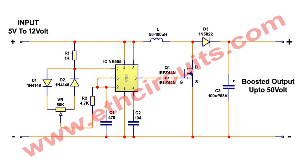 dc to dc converter circuit diagram with ic 555